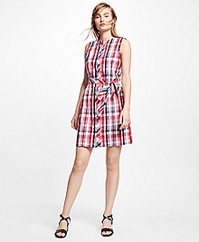Seersucker Plaid Shirt Dress
