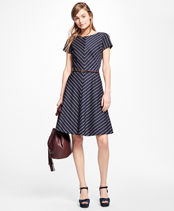 Short-Sleeve Striped Dress Navy