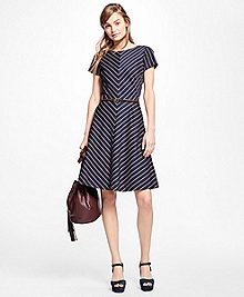Short-Sleeve Striped Dress