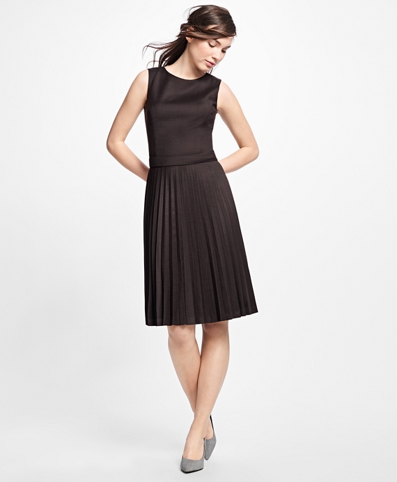 Wool Houndstooth Pleated Dress Brown