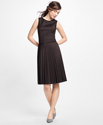 Wool Houndstooth Pleated Dress