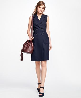 Sleeveless Wool-Blend Wrap Dress