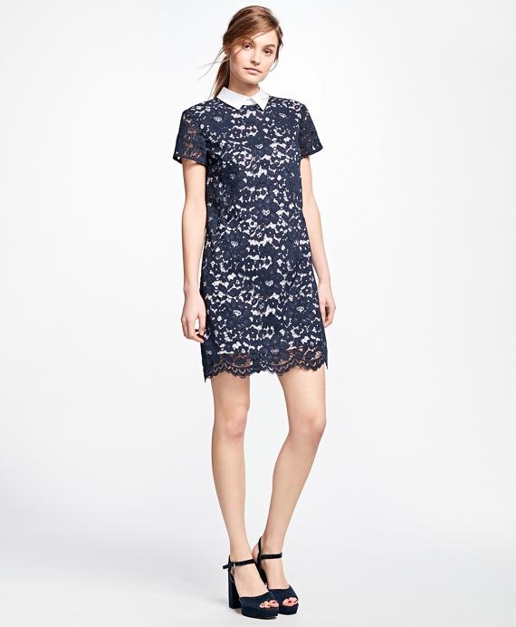 Cotton-Blend Lace Dress Navy