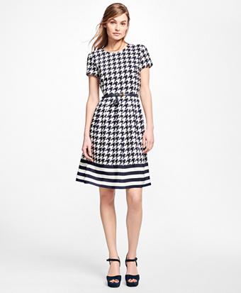 Silk Houndstooth and Stripe Dress