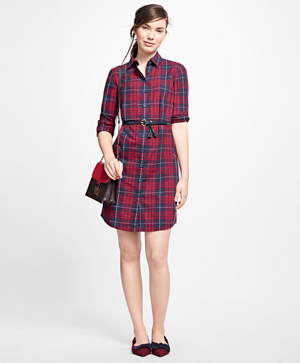 Cotton Plaid Shirt Dress