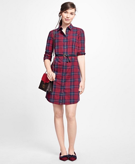 Cotton Plaid Shirt Dress Red-Navy
