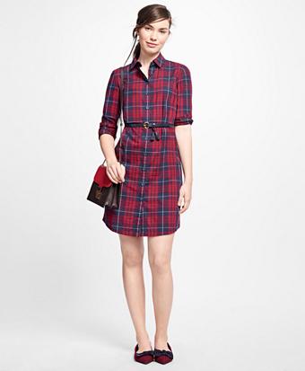 Cotton Plaid Shirt Dress