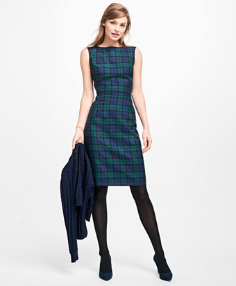 Sleeveless Wool Black Watch Dress