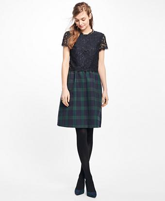 Short-Sleeve Mixed-Media Dress