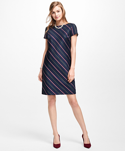 Striped Wool Shift Dress