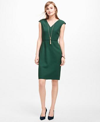 Stretch-Wool V-Neck Dress