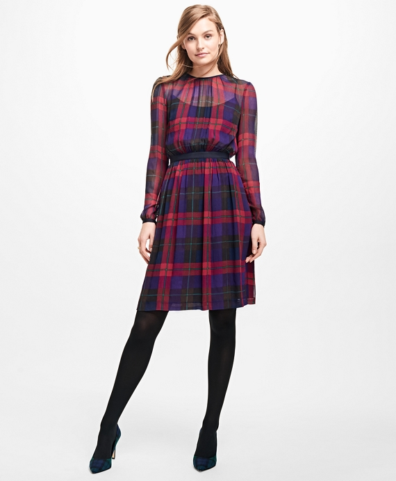 Plaid Chiffon Dress Red-Blue