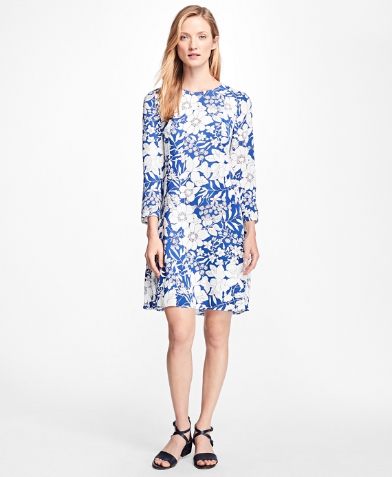 Floral-Print Dress Blue-White