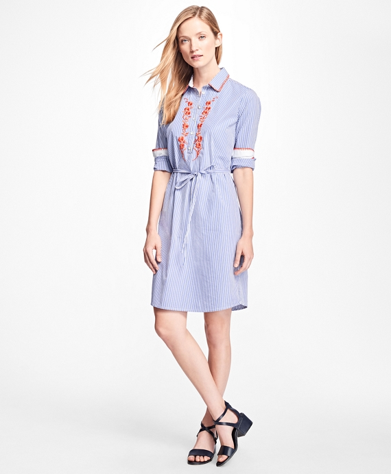 Cotton-Poplin Embroidered Shirtdress Blue-White