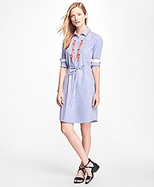 Cotton-Poplin Embroidered Shirtdress