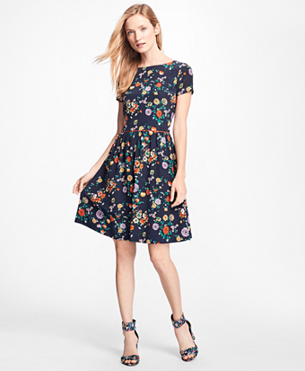 Floral Silk Crepe Fit-and-Flare Dress