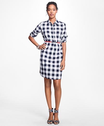 Gingham Cotton Twill Shirtdress