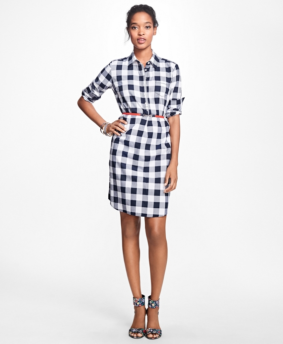 Gingham Cotton Twill Shirtdress Navy
