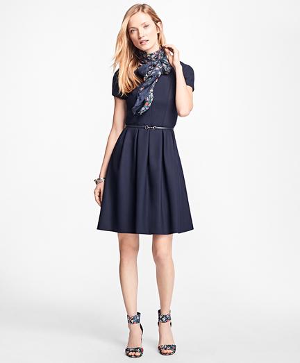 Stretch Wool-Twill Pleated Dress