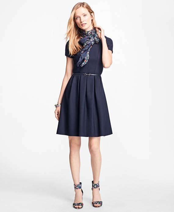 Stretch Wool-Twill Pleated Dress Navy