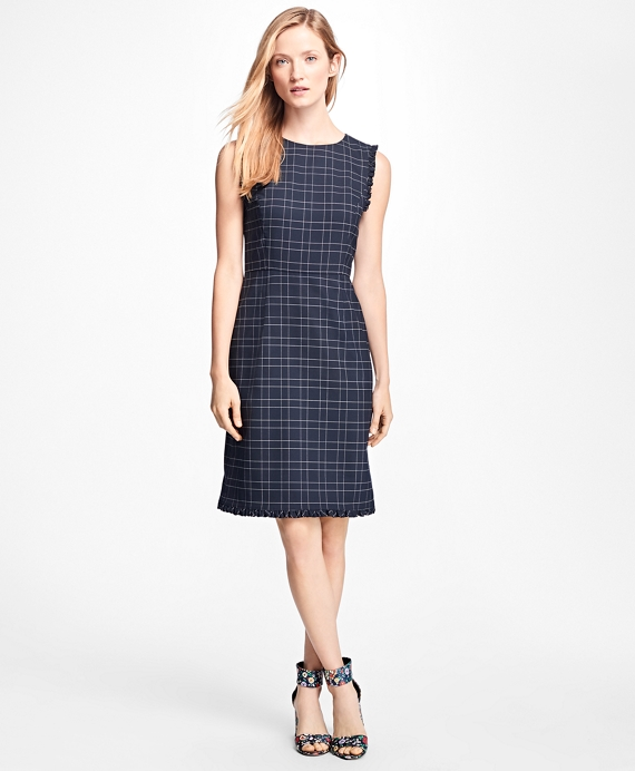 Windowpane Stretch Wool Hopsack Dress Navy