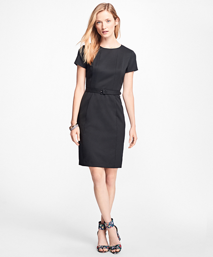 Stretch Wool-Twill Little Black Dress