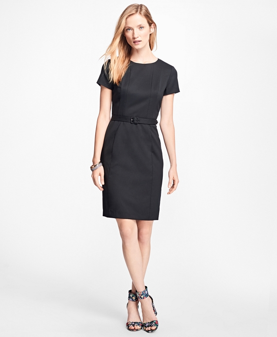 Stretch Wool-Twill Little Black Dress Black