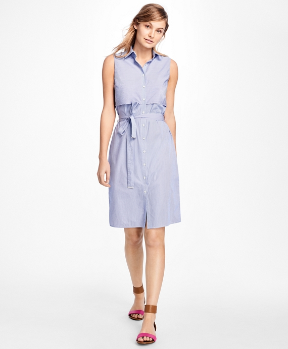 Sleeveless Stripe Cotton Dobby Shirtdress Navy-White