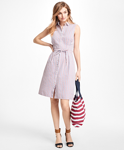 Checked Cotton Seersucker Shirt Dress