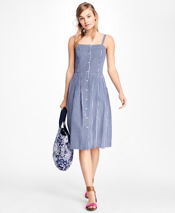 Gingham Cotton Poplin Dress Blue