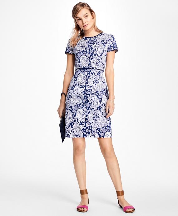 Short-Sleeve Paisley Print Ottoman Dress Blue
