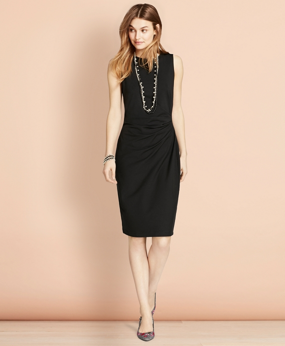 Ruched Ponte Sheath Dress Black