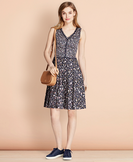 Floral-Print Cotton Sateen Dress