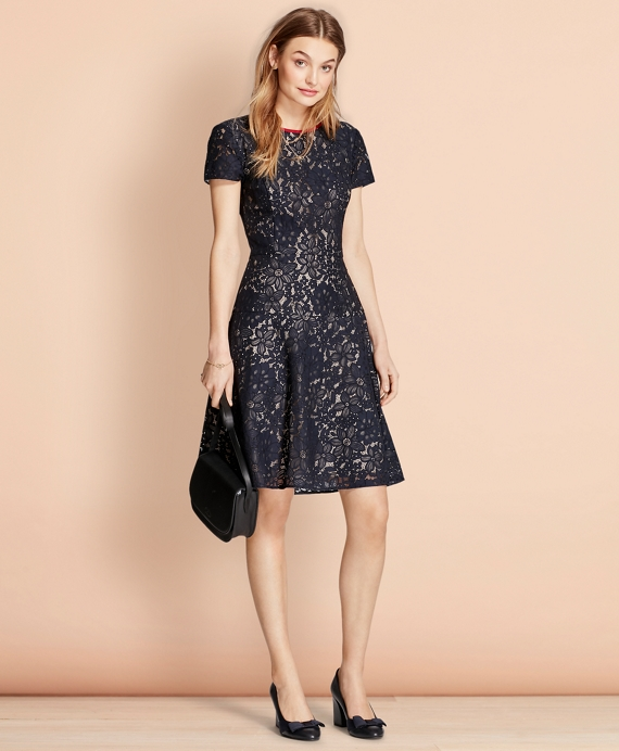 Floral Lace Dress Navy