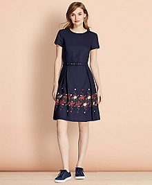 Floral-Embroidered Stretch Wool Dress