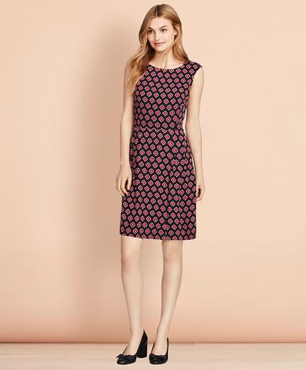 Foulard-Print Crepe Dress