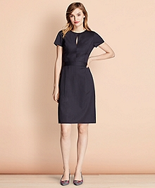 Pinstripe Stretch Wool Dress