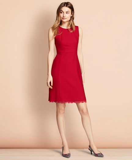 Lace-Trimmed Wool-Blend Sheath Dress