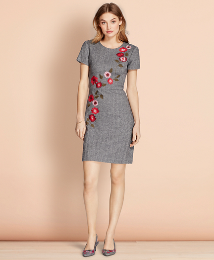 Brooks Brothers Floral-Embroidered Herringbone Dress
