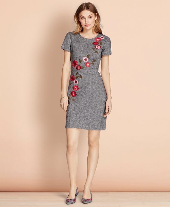 Floral-Embroidered Herringbone Dress Grey-Multi