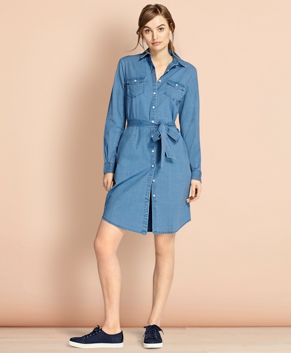 Cotton Chambray Shirt Dress Chambray Blue