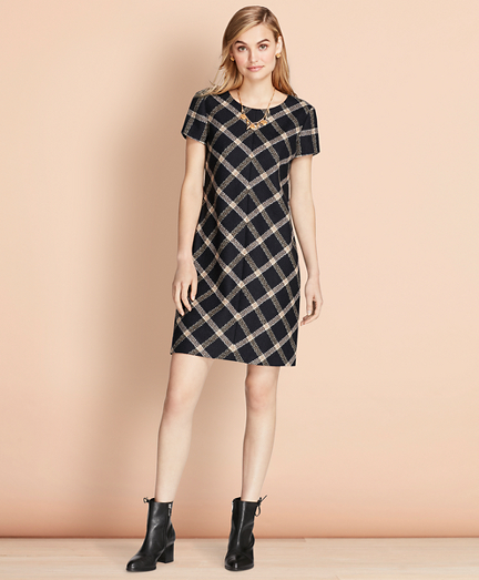 Windowpane Wool Boucle Shift Dress