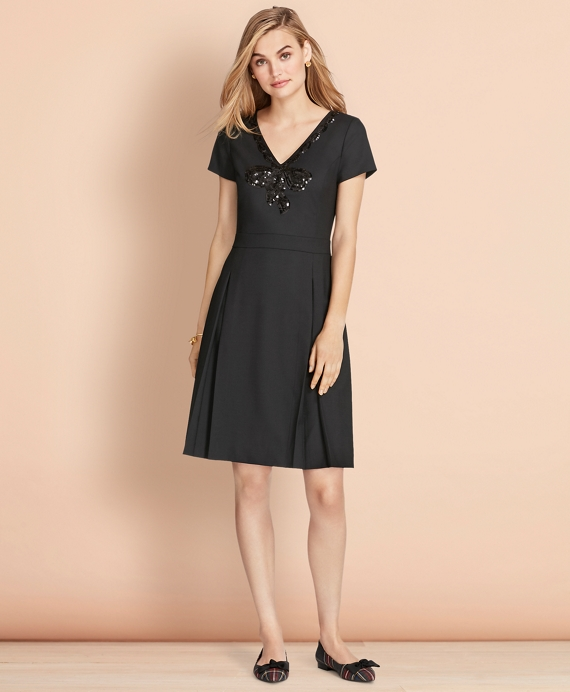 Sequined Bow Applique Wool-Blend Twill Dress Black