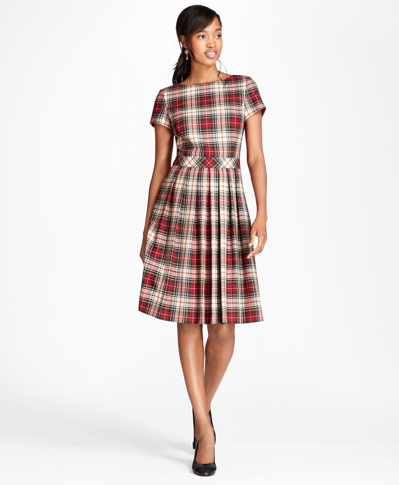 Pleated Tartan Wool Twill Dress White-Multi