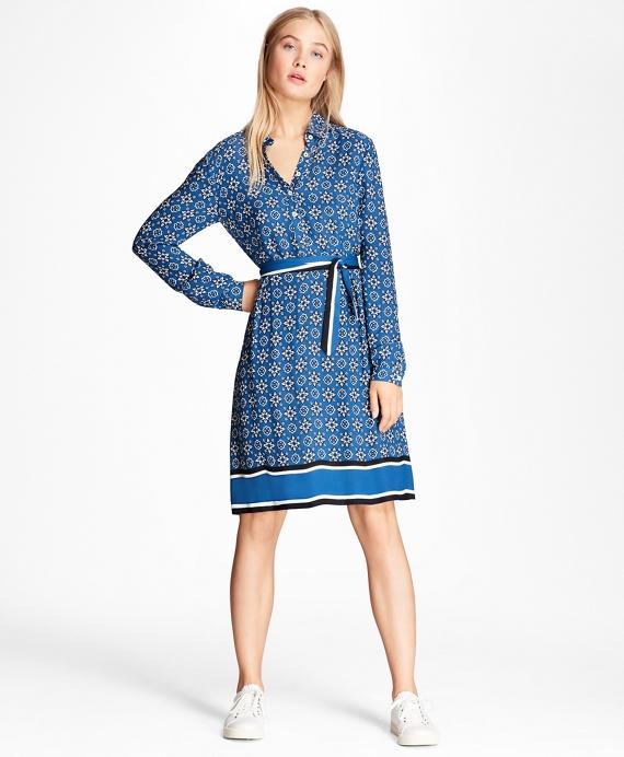 Foulard-Print Crepe Shirt Dress Blue
