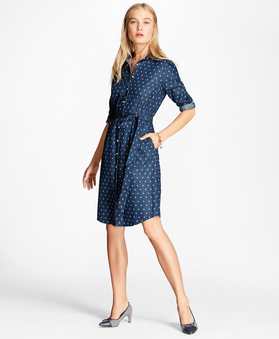 Anchor-Print Denim Shirt Dress Dark Blue