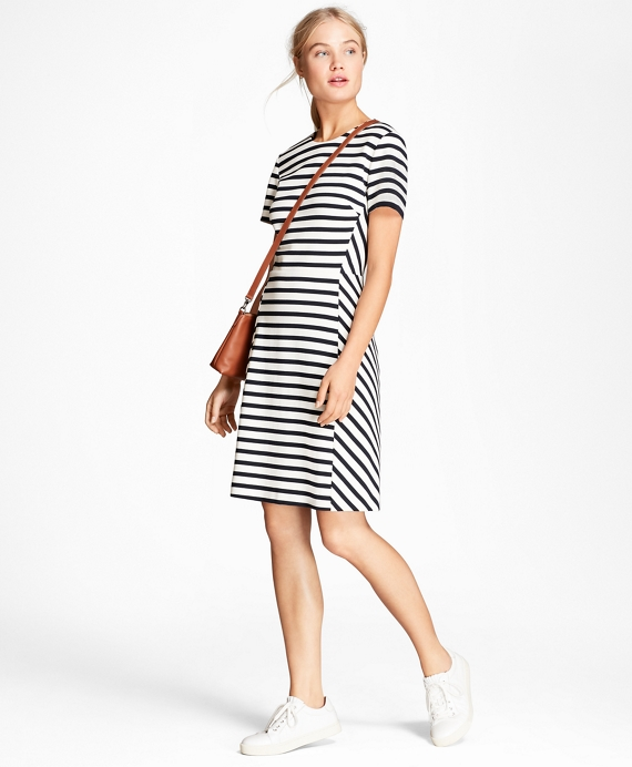 Striped Ponte Knit Dress Navy-White