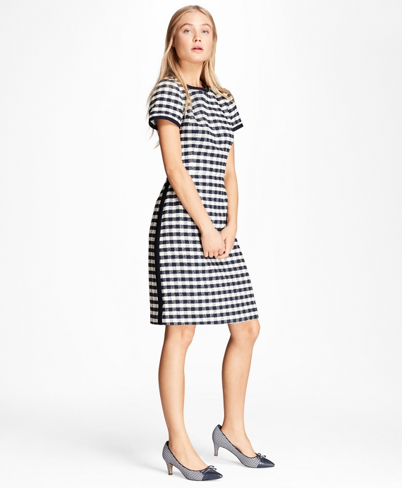 Gingham Boucle Shift Dress Navy
