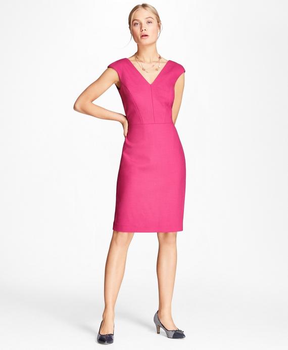 Stretch-Wool Sheath Dress Pink