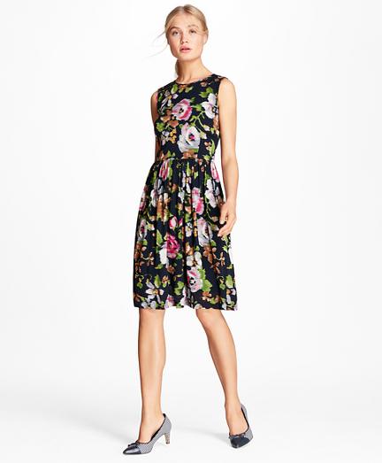 Floral-Print Georgette A-Line Dress